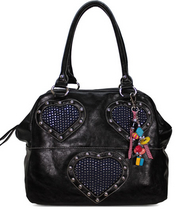 Black Diamante Heart Tote Handbag, käslaukku musta