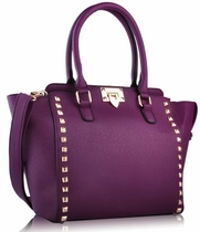 Purple Shoulder Tote Bag - purppura laukku