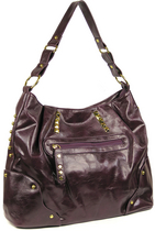Purple Studded Shoulder Bag - Tilava purppura laukku