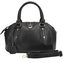 Top Padlock Detail Bowling Bag, musta